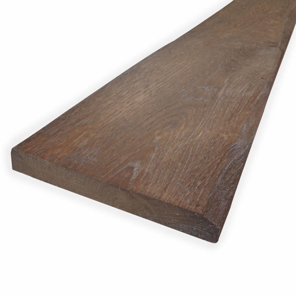 Oude eiken plank 28x190mm Geschaafd, Opgeborsteld, Gerookt & Whitewas + olie (verouderd)