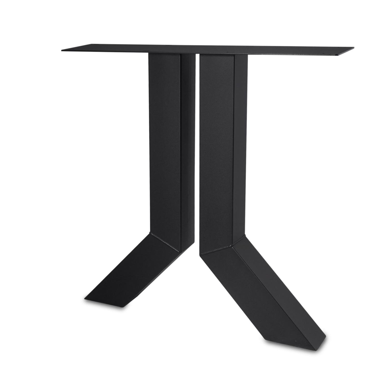 Stalen Y-tafelpoten (SET) 10x10 cm - 72 cm breed - 72 cm hoog - Y-poot GEPOEDERCOAT Zwart