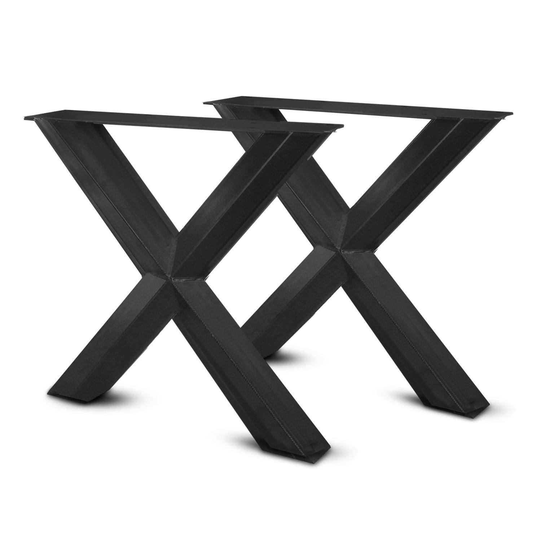 Stalen X-ster tafelpoten (SET) 10x10 cm - 78 cm breed - 72 cm hoog - Kruispoot ster - GEPOEDERCOAT Zwart