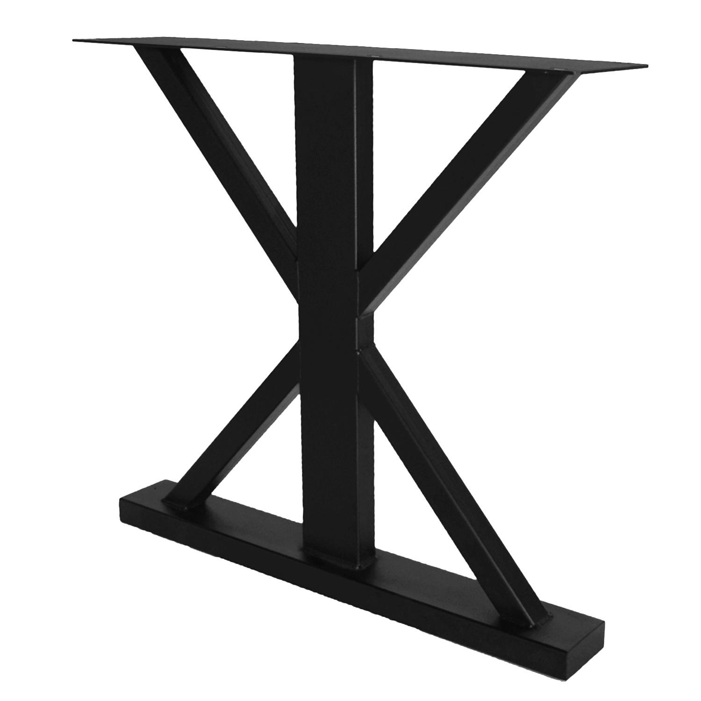 Stalen landelijke tafelpoten (SET) - 78 cm breed - 72 cm hoog - GEPOEDERCOAT  Zwart