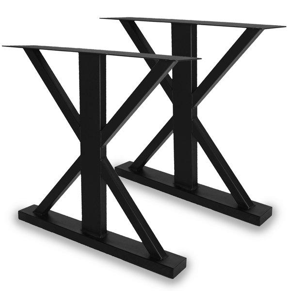 Stalen landelijke tafelpoten (SET) - 78 cm breed - 72 cm hoog - ZWART