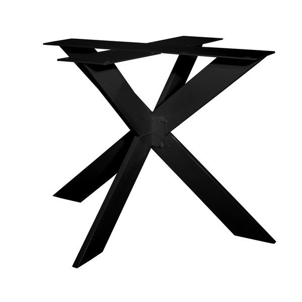 Stalen onderstel dubbele X SLANK (3D) - 3-DELIG - 2x10 cm - 130x130 cm - 72 cm hoog - ZWART