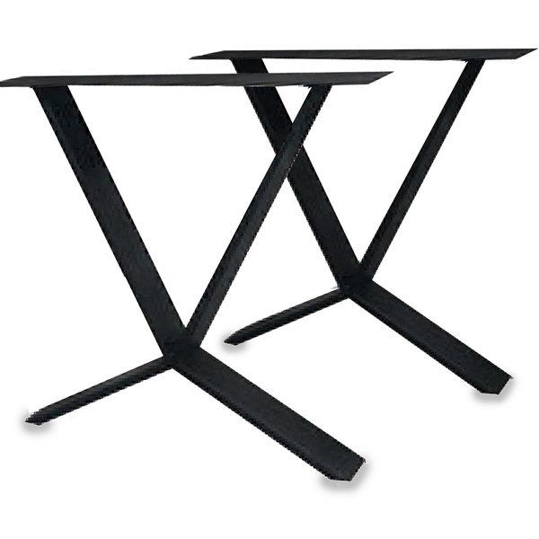 Stalen X-speciaal tafelpoten SLANK (SET) 2x10cm - 78 cm breed - 72 cm hoog - ZWART