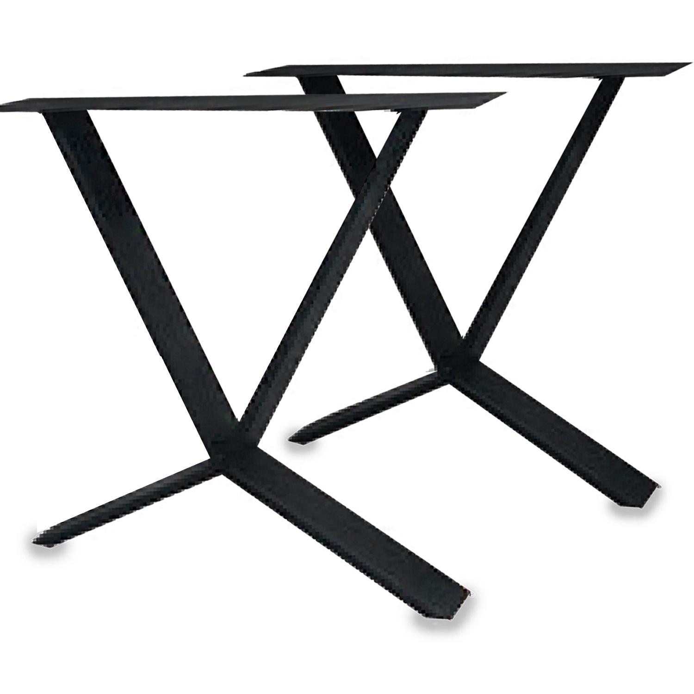 Stalen X-speciaal tafelpoten SLANK (SET) 2x10 cm - 78 cm breed - 72 cm hoog - X-poot - Gepoedercoat ZWART