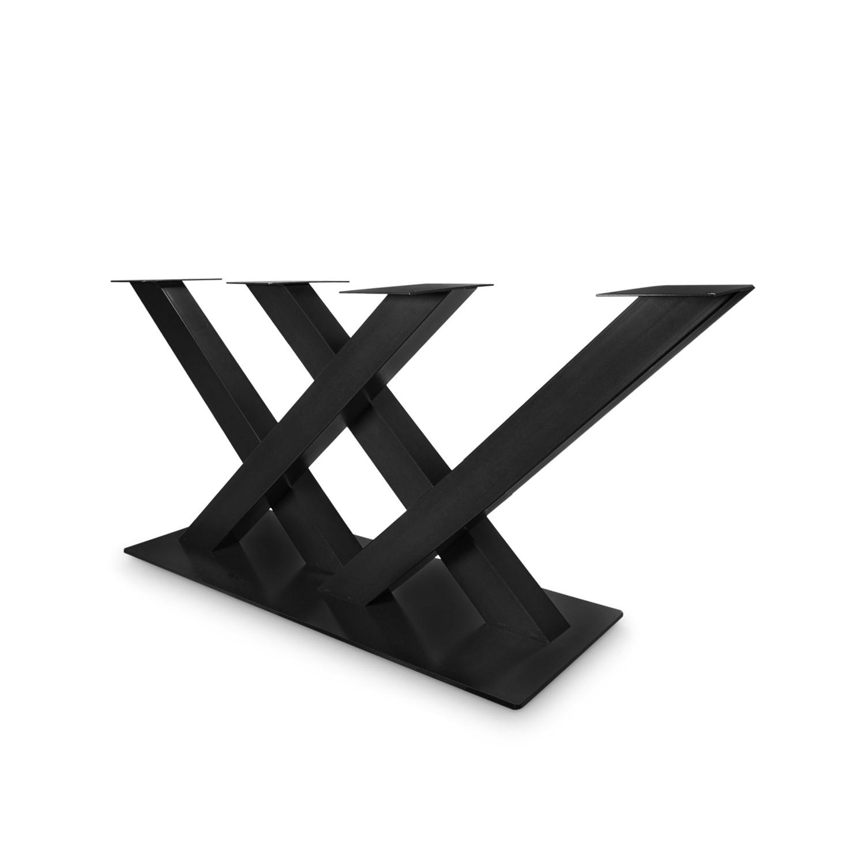 Stalen salontafel onderstel dubbele V / X poot op voet - 5-DELIG met schroefbevestiging - 6x6 cm - 68 cm breed - 38 cm hoog - 35x50 cm (voet)plaatafmeting - Inclusief zwarte coating