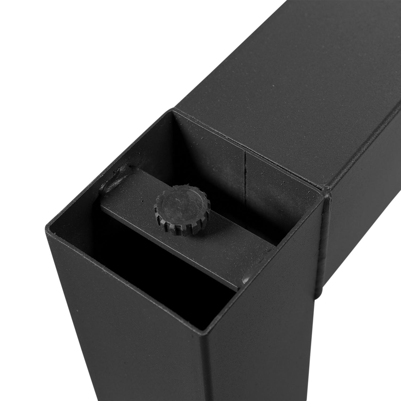 Stalen U-statafelpoten (SET) 10x10 cm - 78 cm breed - 90 cm hoog - U-poot ZWART gepoedercoat