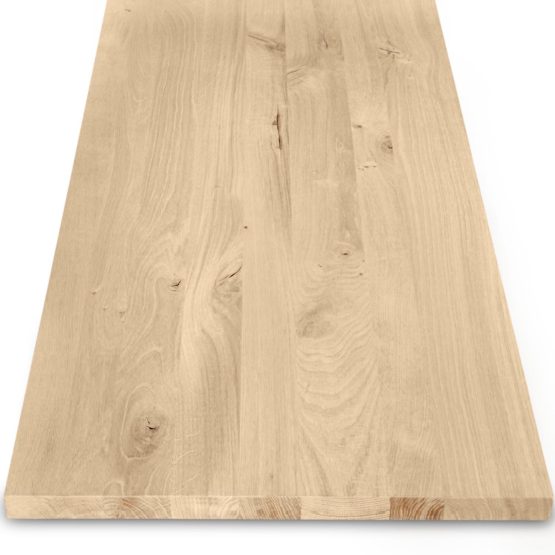 Eiken blad / paneel op maat - 3 cm dik (1-laag) - rustiek Europees eikenhout GEBORSTELD - verlijmd kd 8-12% - 15-120x20-350 cm