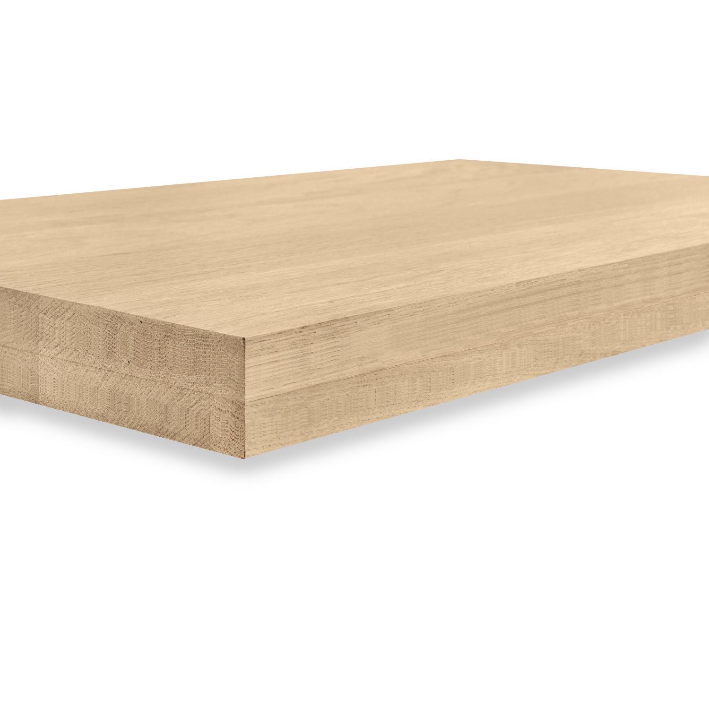 Eiken blad / paneel op maat - 8 cm dik (2-laags) - Foutvrij Europees eikenhout GEBORSTELD - verlijmd kd 8-12% - 15-120x20-300 cm
