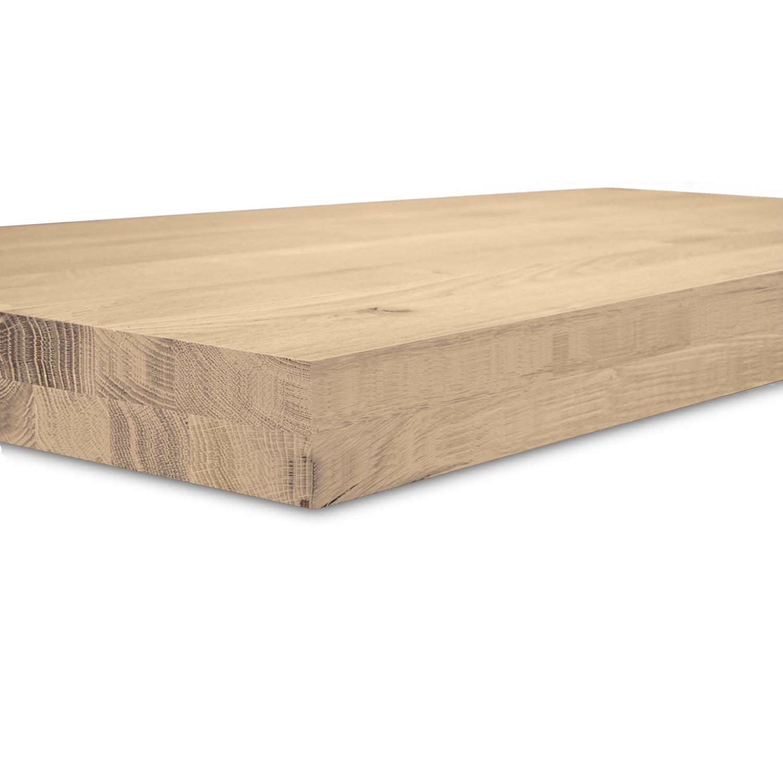 Eiken blad / paneel op maat - 8 cm dik (2-laags) - rustiek Europees eikenhout GEBORSTELD - verlijmd kd 8-12% - 15-120x20-300 cm