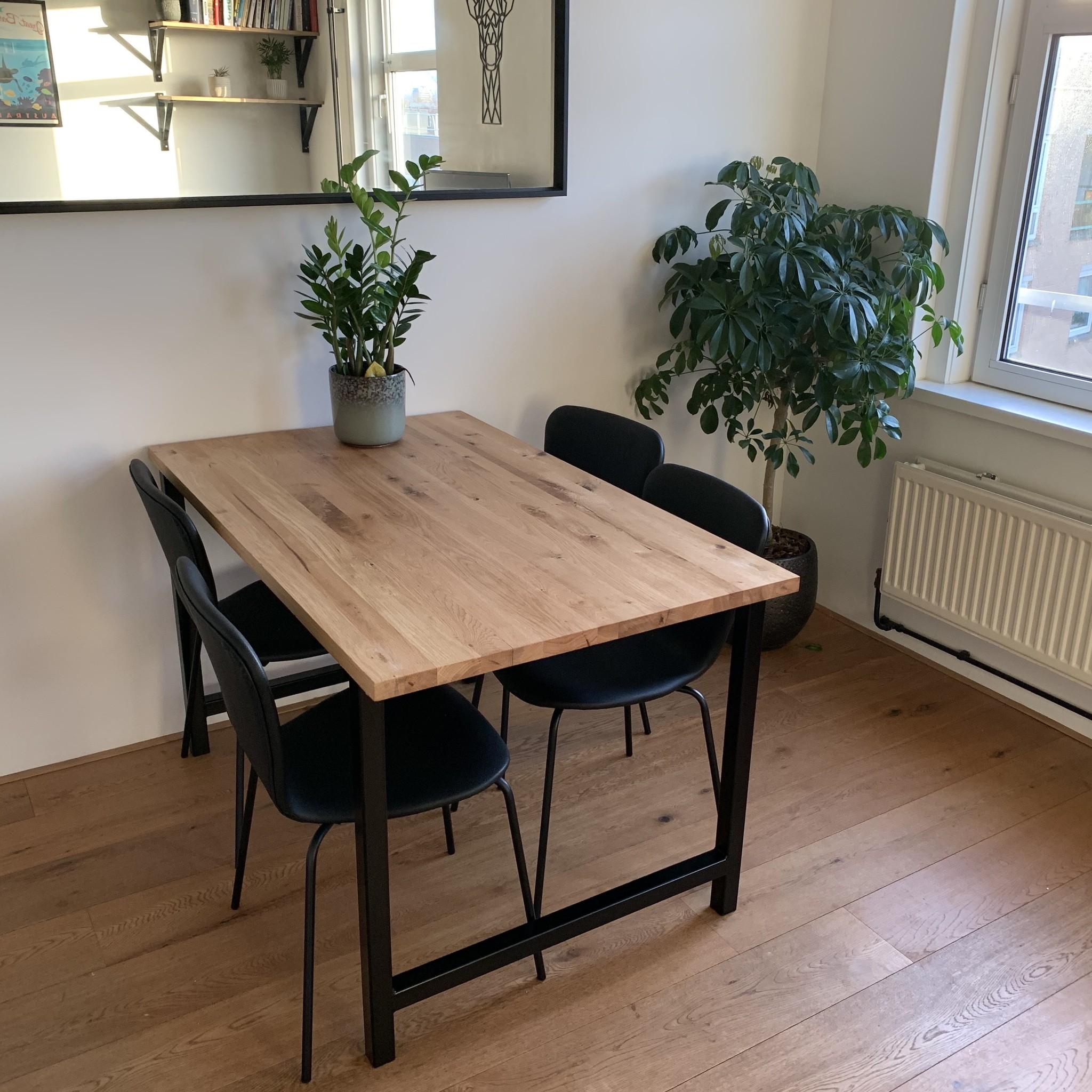 Eiken tafelblad op maat - 2,5 cm dik (1-laag) - rustiek Europees eikenhout - verlijmd kd 8-12% - 50-120x50-300 cm