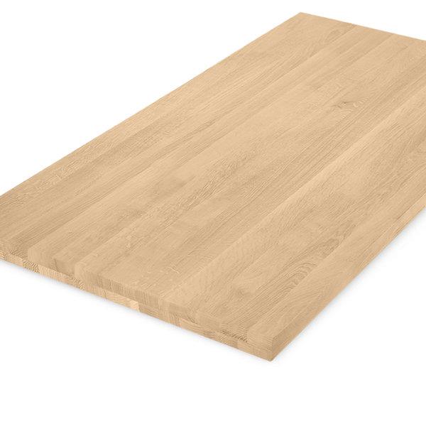 Eiken tafelblad op maat - 5 cm dik (2-laags) - foutvrij eikenhout - GEBORSTELD