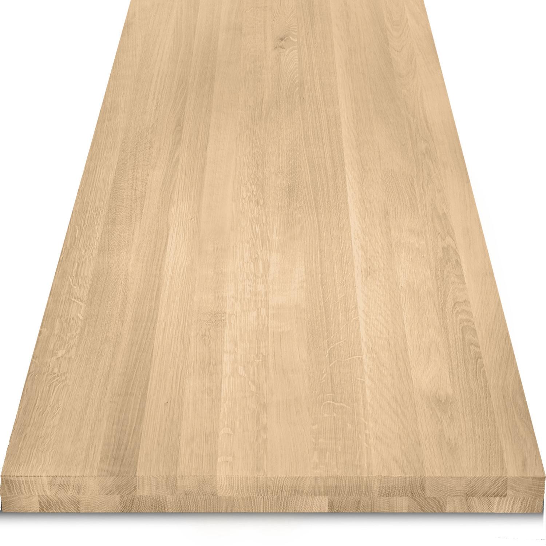 Eiken tafelblad op maat - 6 cm dik (2-laags) - foutvrij Europees eikenhout GEBORSTELD- verlijmd kd 8-12% - 50-120x50-300 cm