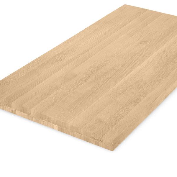 Eiken tafelblad op maat - 6 cm dik (2-laags) - foutvrij eikenhout - GEBORSTELD
