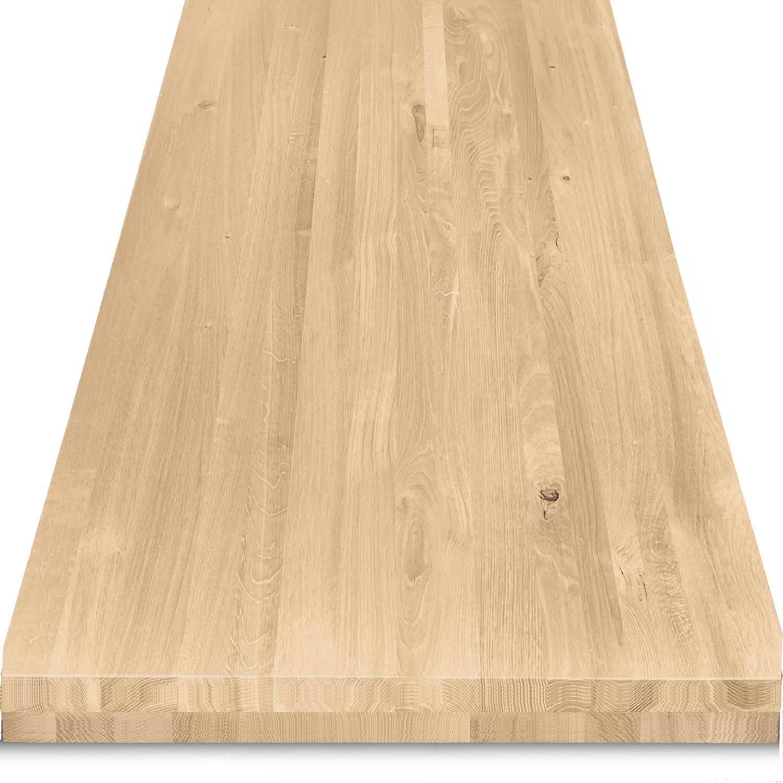 Eiken tafelblad op maat - 8 cm dik (2-laags) - rustiek Europees eikenhout - verlijmd kd 8-12% - 50-120x50-300 cm