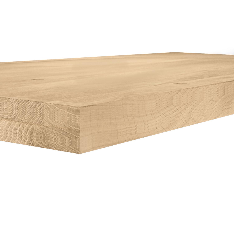 Eiken tafelblad op maat - 8 cm dik (2-laags) - rustiek Europees eikenhout GEBORSTELD - verlijmd kd 8-12% - 50-120x50-300 cm