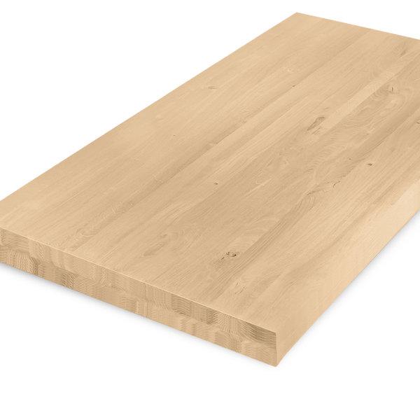 Eiken tafelblad op maat - 8 cm dik (2-laags) - rustiek eikenhout - GEBORSTELD