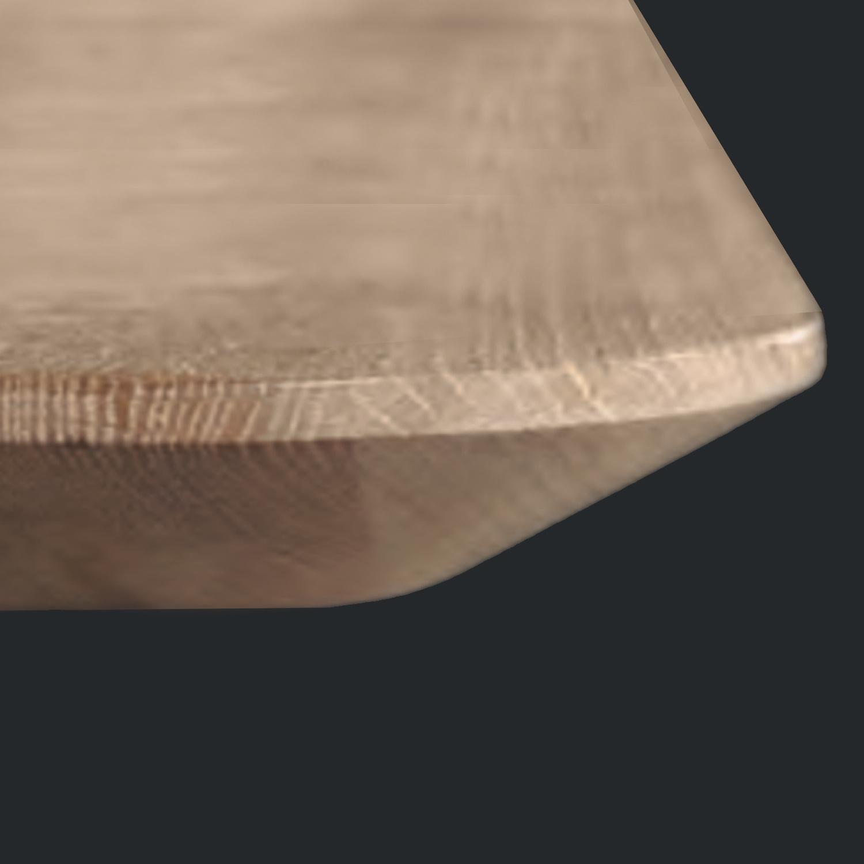 Eiken tafelblad verjongd - 3 cm dik - Diverse afmetingen - extra rustiek Europees eikenhout - met verjongde (afgeschuinde) rand / kant - verlijmd kd 10-12%