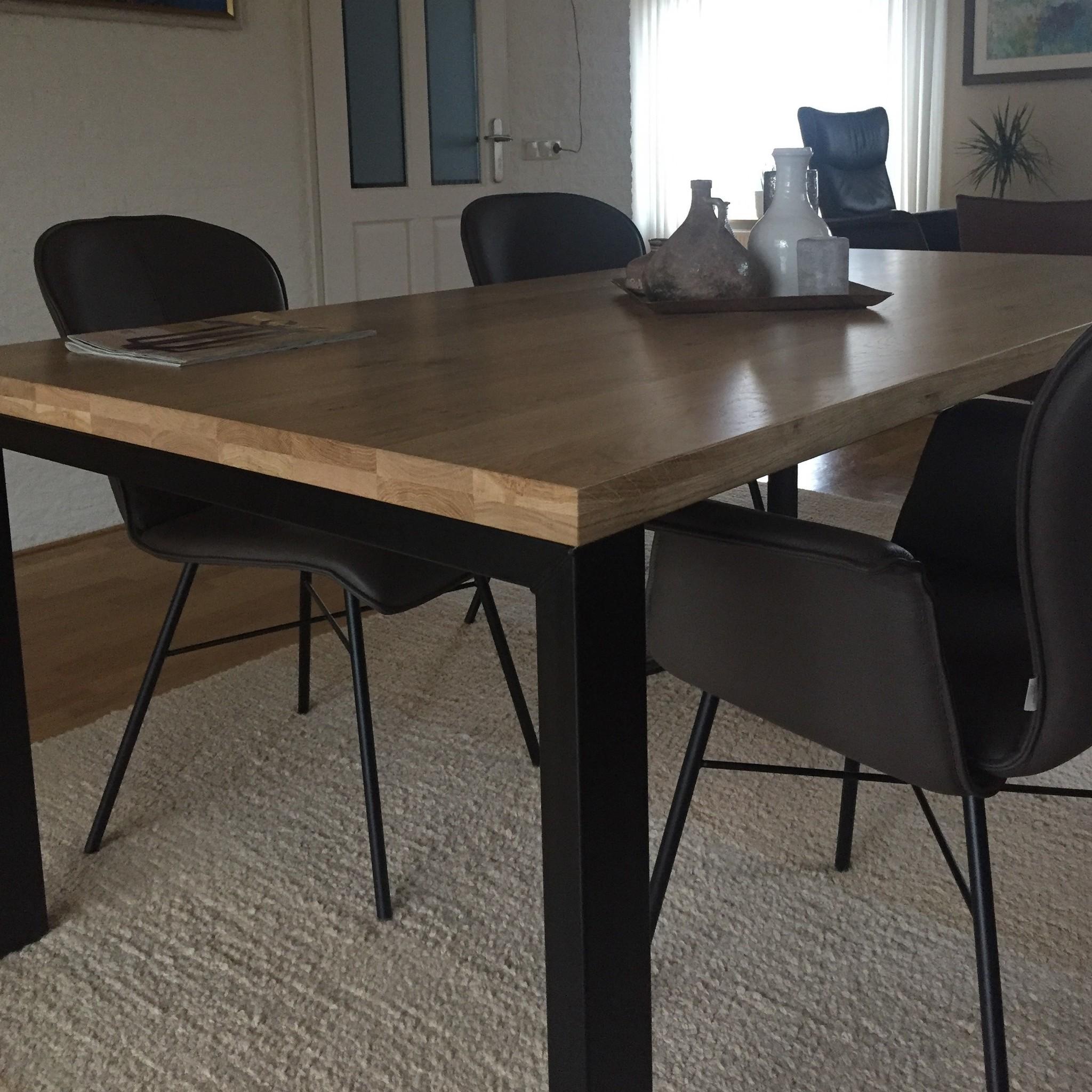 Eiken tafelblad op maat - OPGEDIKT - 4 cm dik (2-laags rondom) - rustiek Europees eikenhout - verlijmd kd 8-12% - 50-120x50-300 cm