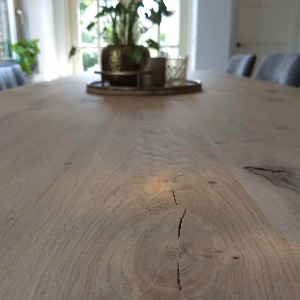 Eiken tafelblad op maat - OPGEDIKT - 5 cm dik (2-laags rondom) - rustiek Europees eikenhout - verlijmd kd 8-12% - 50-120x50-300 cm