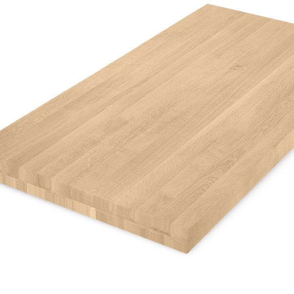 Eiken tafelblad op maat - 8 cm dik (2-laags) - foutvrij eikenhout - GEBORSTELD