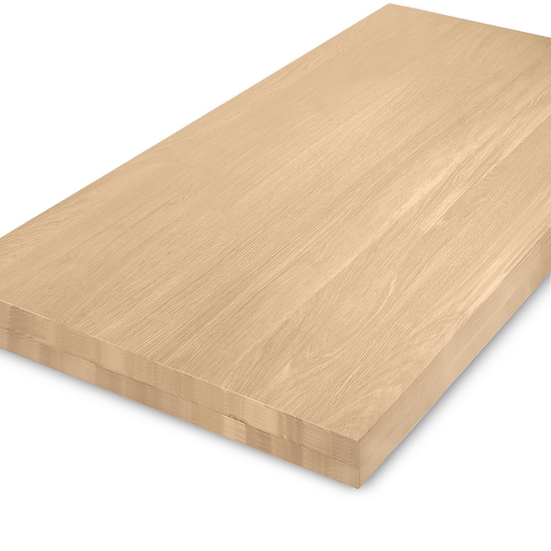 Eiken tafelblad op maat - OPGEDIKT - 8 cm dik (2-laags rondom) - foutvrij Europees eikenhout - verlijmd kd 8-12% - 50-120x50-300 cm
