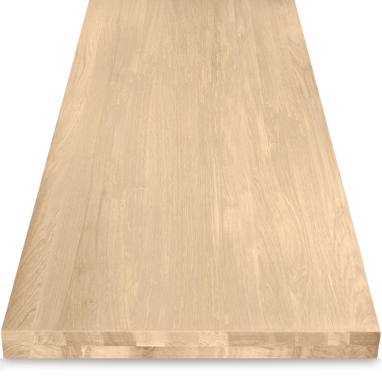 Eiken tafelblad op maat - OPGEDIKT - 6 cm dik (2-laags rondom) - foutvrij Europees eikenhout - verlijmd kd 8-12% - 50-120x50-300 cm