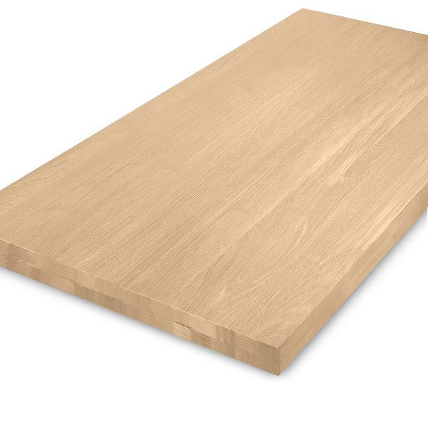 Eiken tafelblad op maat - OPGEDIKT - 6 cm dik (2-laags rondom) - foutvrij eikenhout - GEBORSTELD