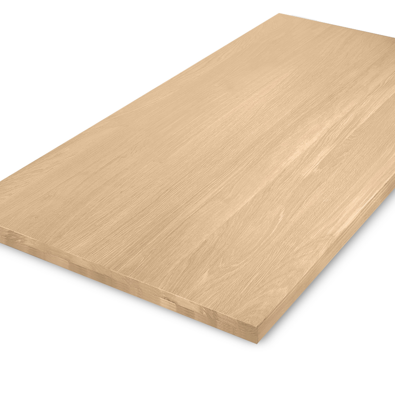 Eiken tafelblad op maat - OPGEDIKT - 4 cm dik (2-laags rondom) - foutvrij Europees eikenhout - verlijmd kd 8-12% - 50-120x50-300 cm - GEBORSTELD