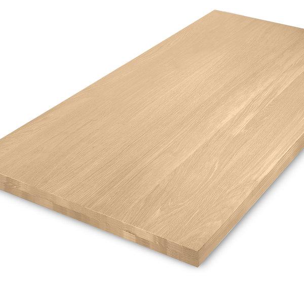 Eiken tafelblad op maat - OPGEDIKT - 5 cm dik (2-laags rondom) - foutvrij eikenhout - GEBORSTELD