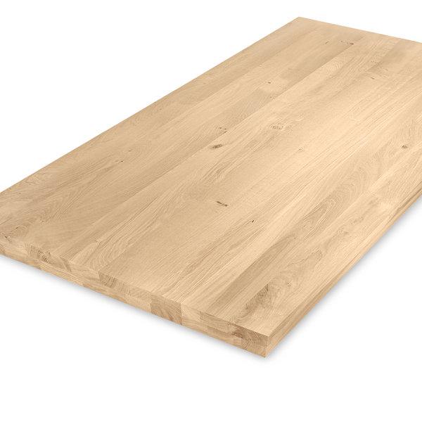Eiken tafelblad op maat - OPGEDIKT - 5 cm dik (2-laags rondom) - rustiek eikenhout