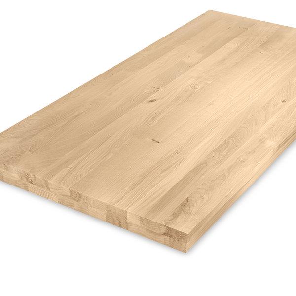 Eiken tafelblad op maat - OPGEDIKT - 6 cm dik (2-laags rondom) - rustiek eikenhout