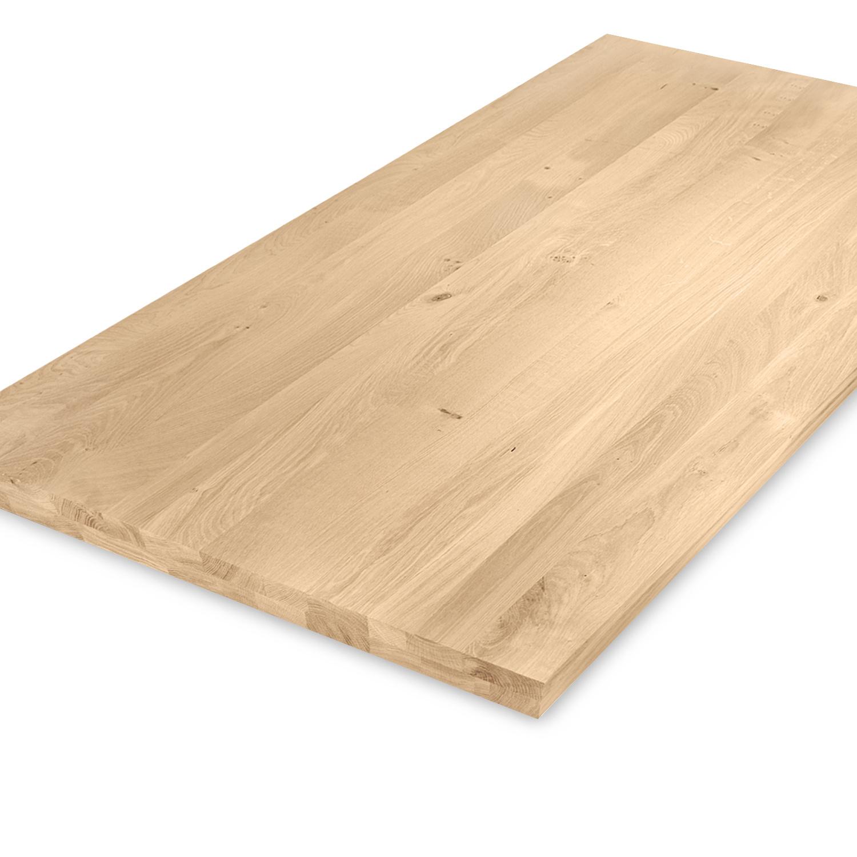 Eiken tafelblad op maat - OPGEDIKT - 4 cm dik (2-laags rondom) - rustiek Europees eikenhout - verlijmd kd 8-12% - 50-120x50-300 cm - GEBORSTELD