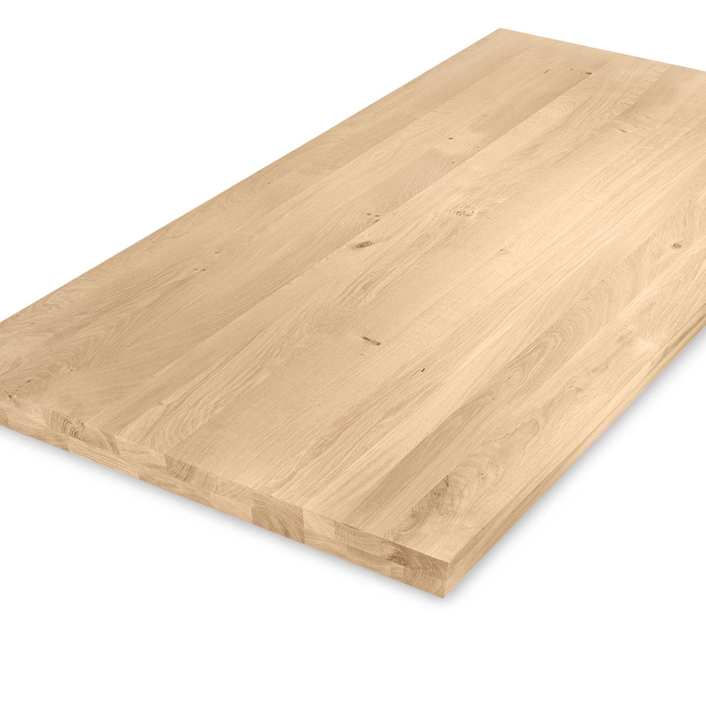 Eiken tafelblad op maat - OPGEDIKT - 5 cm dik (2-laags rondom) - rustiek Europees eikenhout - verlijmd kd 8-12% - 50-120x50-300 cm - GEBORSTELD