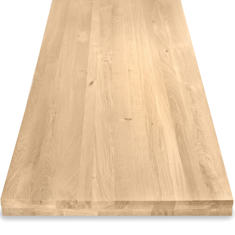 Eiken tafelblad op maat - OPGEDIKT - 6 cm dik (2-laags rondom) - rustiek Europees eikenhout - verlijmd kd 8-12% - 50-120x50-300 cm - GEBORSTELD
