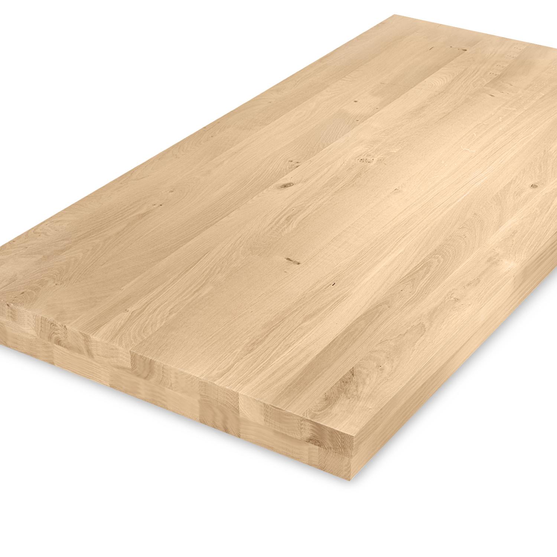 Eiken tafelblad op maat - OPGEDIKT - 8 cm dik (2-laags rondom) - rustiek Europees eikenhout - verlijmd kd 8-12% - 50-120x50-300 cm - GEBORSTELD