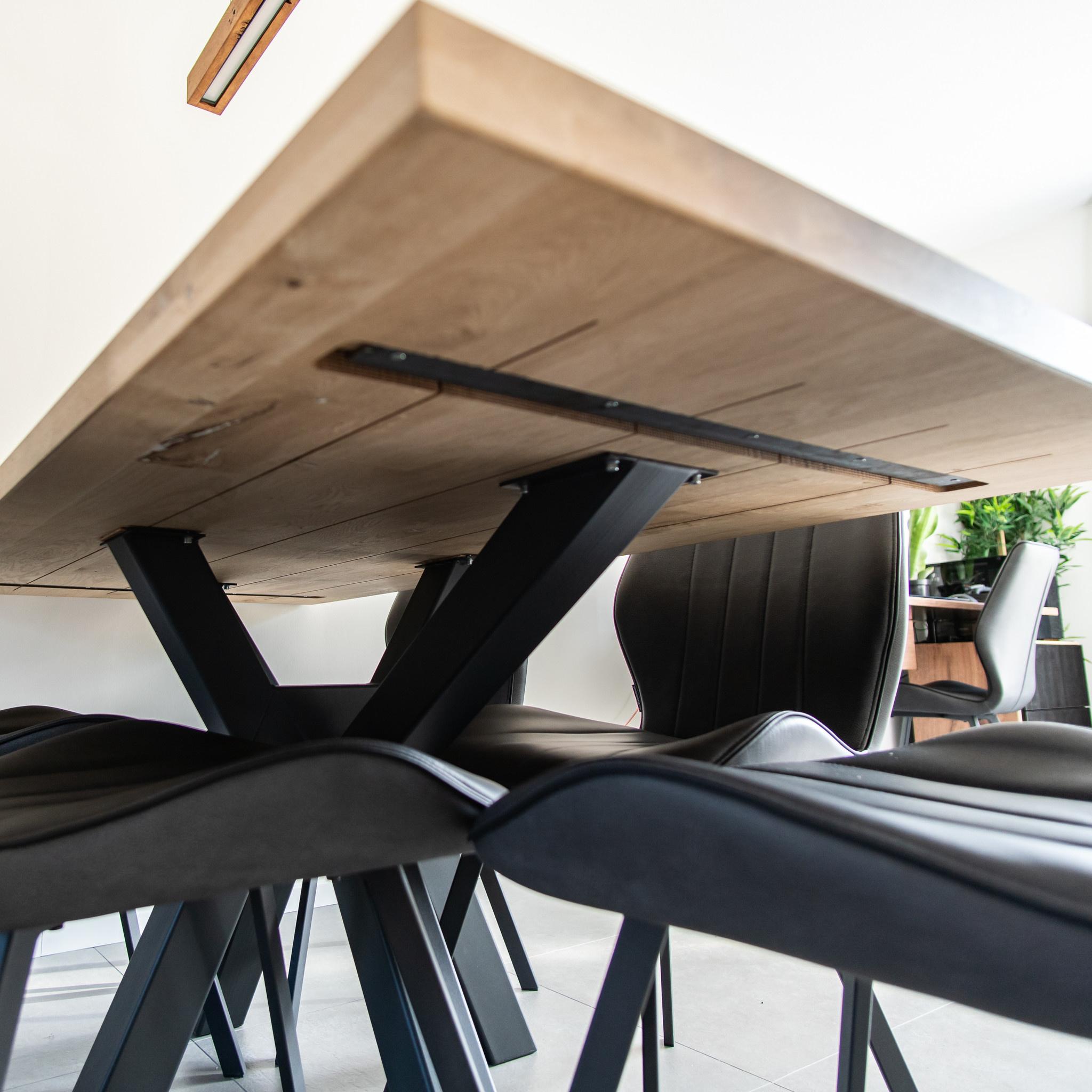 Eiken tafelblad op maat - 5 cm dik (2-laags) - rustiek Europees eikenhout GEBORSTELD - verlijmd kd 8-12% - 50-120x50-300 cm