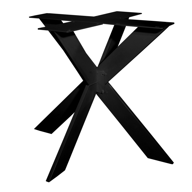 Stalen onderstel dubbele X SLANK (3D) - 3-DELIG met schroefbevestiging - 2x10 cm - 90x90 cm - 72 cm hoog - 3D dubbele kruispoot GEPOEDERCOAT - zwart & wit