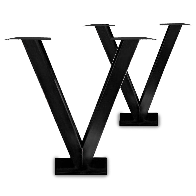 Stalen V-statafelpoten (SET) - V-poot op voet - 10x10 cm - 91 cm breed - 100 cm hoog - 20x40 cm (voet)plaatafmeting - Transparant / blank gecoat staal