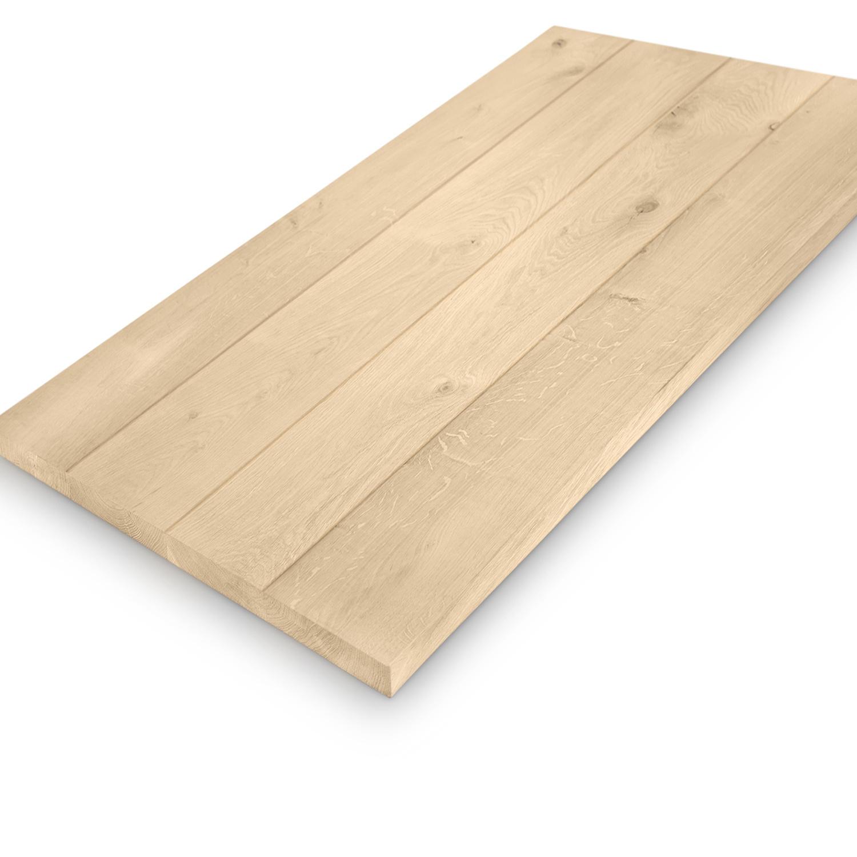Eiken (horeca) tafelblad rechthoekig - 4 cm dik (massief) - diverse afmetingen - extra rustiek Europees eikenhout - Diverse afmetingen - verlijmd kd 10-12% - optioneel geborsteld en V-groeven