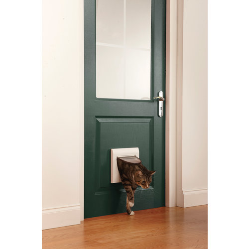 PetSafe® Staywell® Classic Manual 4-Way Locking Cat Flap - White w/tunnel