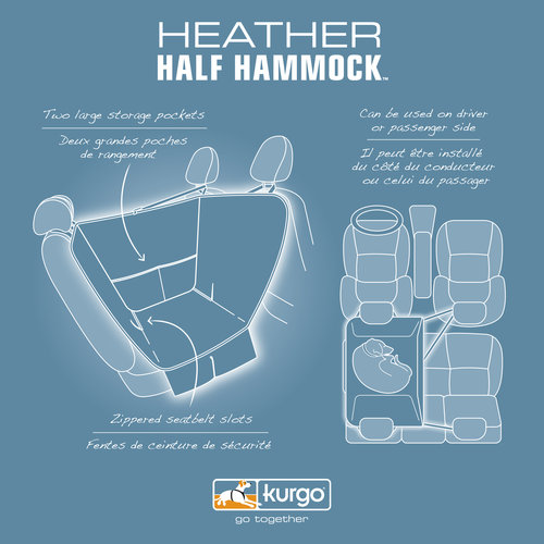 Kurgo Kurgo - Half Hammock - Heather Grey