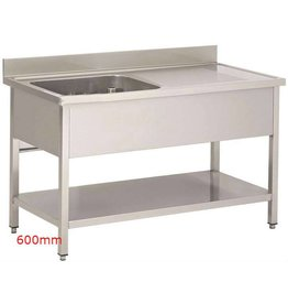 Sea Biscuit Stainless Steel Sink 1 basin 1 drip off zone 600mm