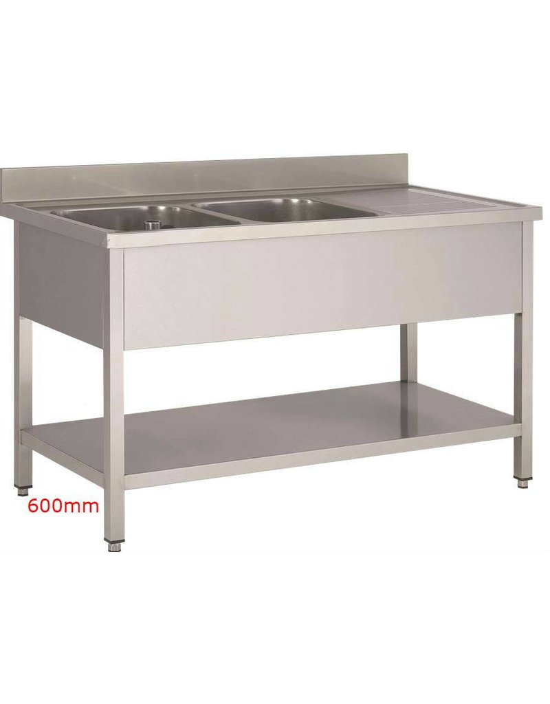 Sea Biscuit Stainless Steel Sink 2 basins 1 drip off zone 600mm