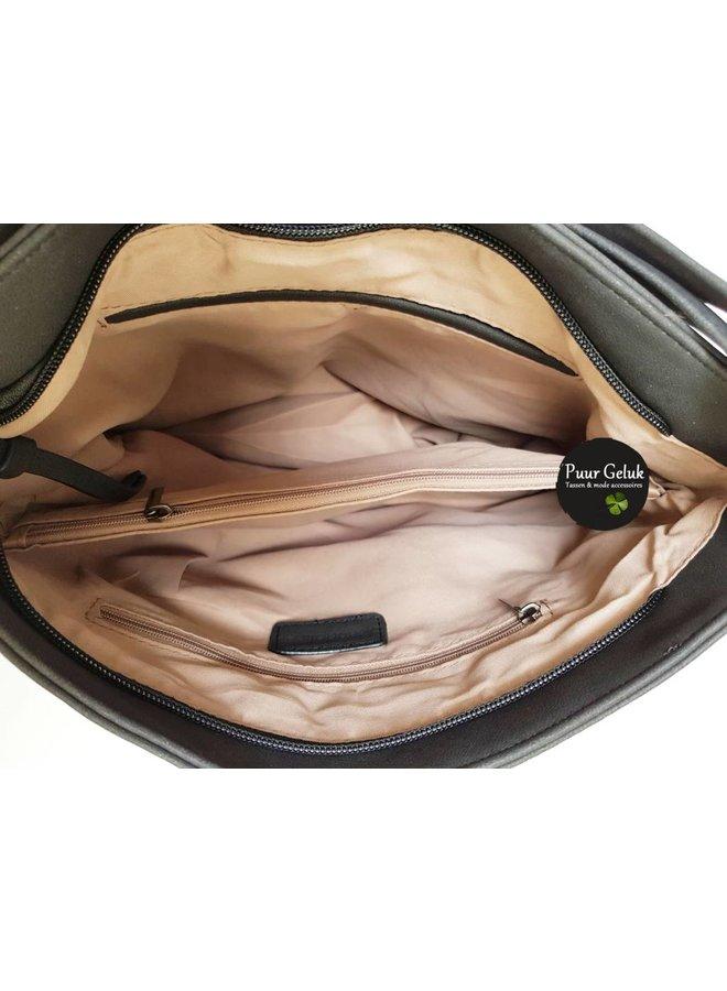 Mandoline tas gevlochten/effen vak, zwart