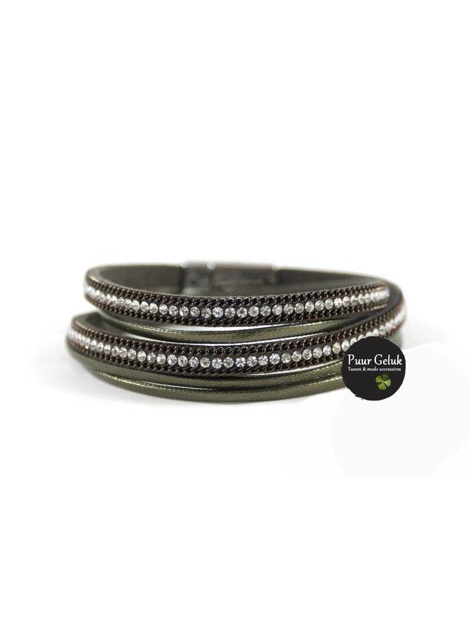 Armband wikkel met strass, groen