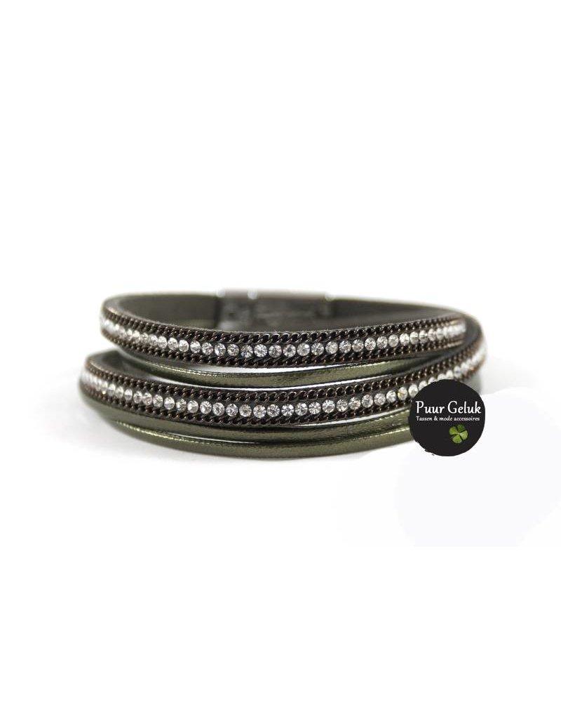 Ook-leuk  Armband wikkel met strass, groen