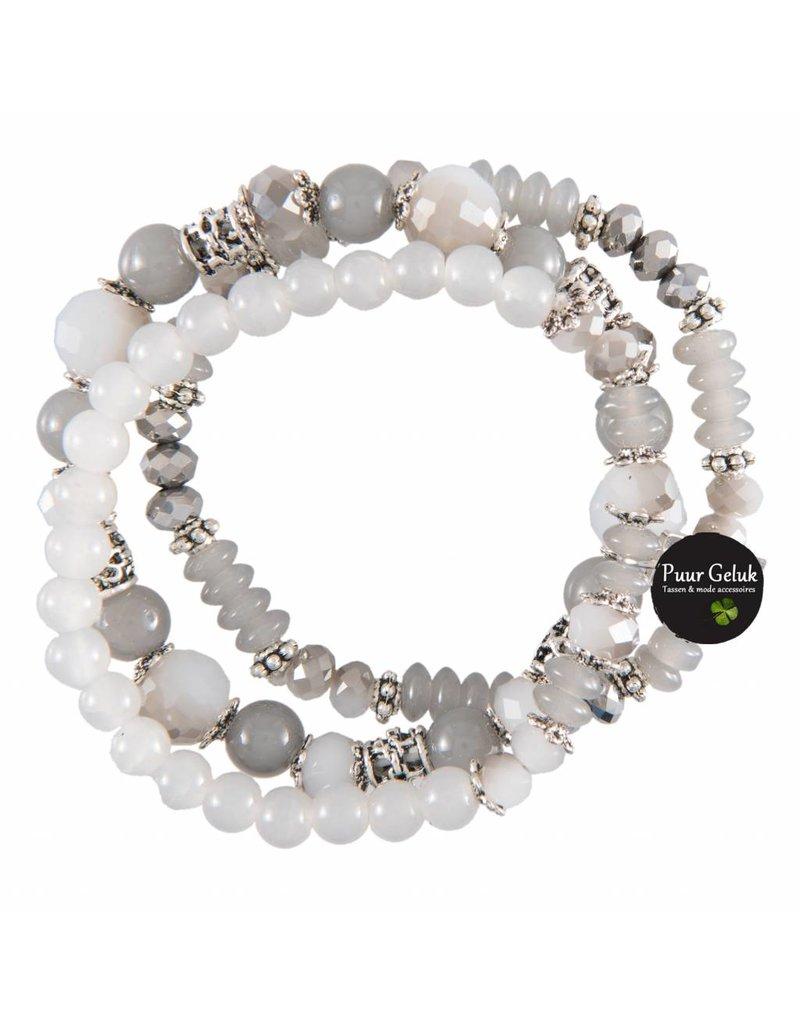 Overige Set van 3 armbanden, grijs/wit