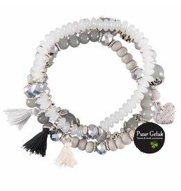 Overige Set van 3 armbanden met klos, grijs/wit