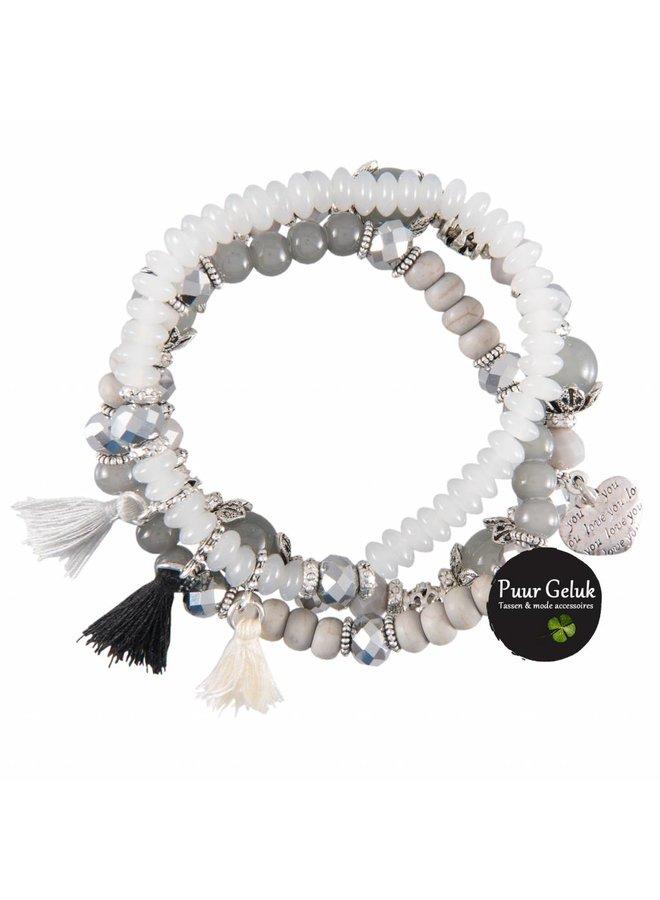 Set van 3 armbanden met klos, grijs/wit