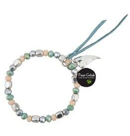 Overige Armband met bedel en draad, blauw/groen/zilver